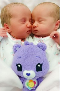 Sam and Ross present the arrival of their beautiful twin girls